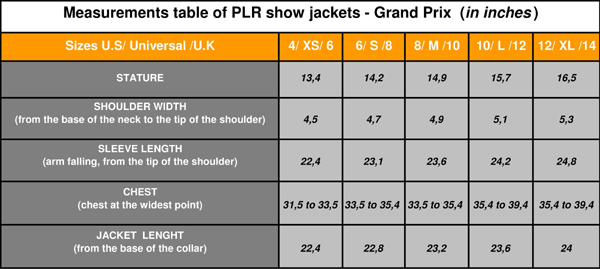 PLR Grand Prix Jackets measurements