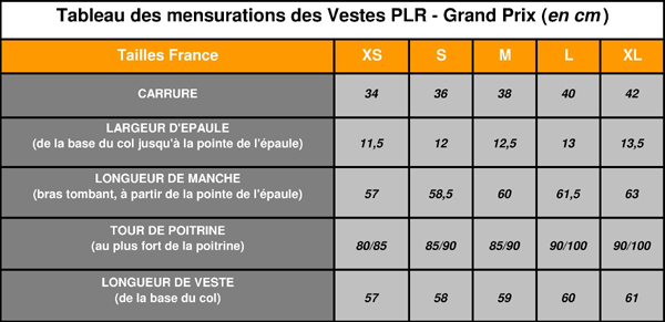 Mensurations Vestes PLR - Grand Prix